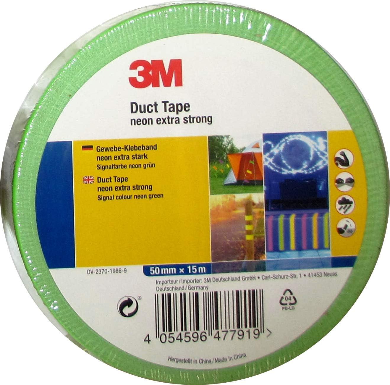 extra stark in Neon Signalfarbe 3M Premium Gewebeklebeband//Duct Tape Neongr/ün