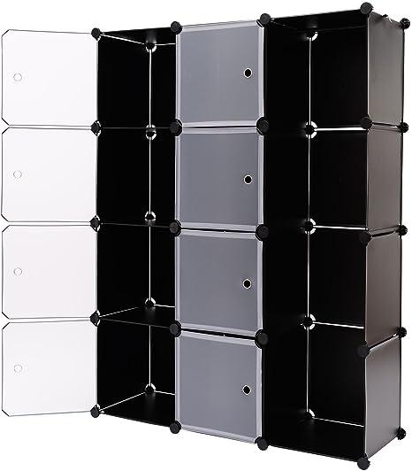 HOMCOM - Estanteria Modular Armario con Puertas plastico Hierro Zapatero baño Modelo 5: Amazon.es: Hogar