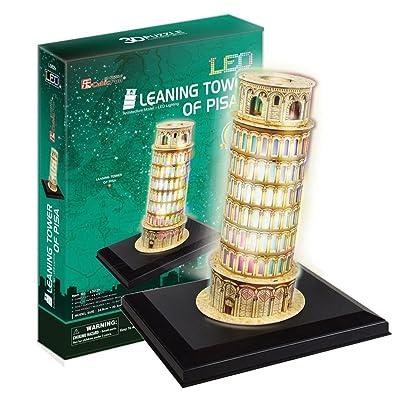 3D PUZZLE LED TORRE INCLINADA DE PISA 15 PIEZAS: Juguetes y juegos