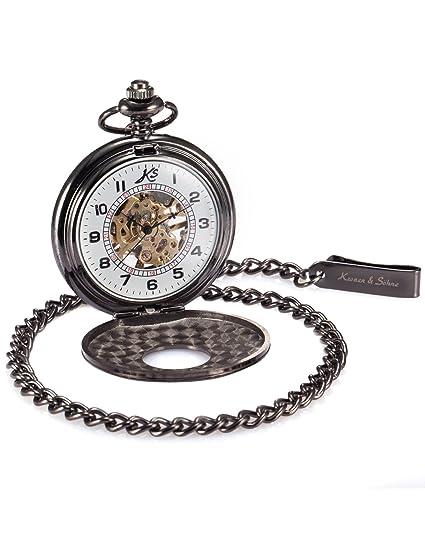 KS KSP005 - Reloj de Bolsillo Mecanismo de Cuerda Manual, Analógico, Caja Negra