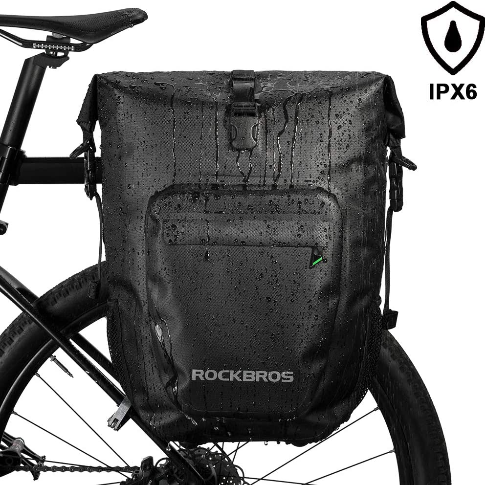ROCK BROS Bike Panniers Bag Bicycle Waterproof Rear Rack Bag 27L Saddle Bag for eBike Cycling Travel Bag with Single Shoulder Strap