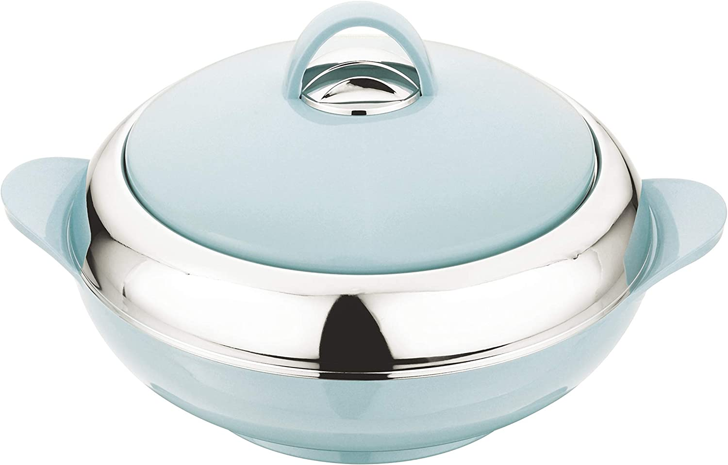 Tmvel Crescent Insulated Casserole Hot Pot - Insulated Serving Bowl With Lid - Food Warmer (2500ml 2.5L, BLUISH GREY)