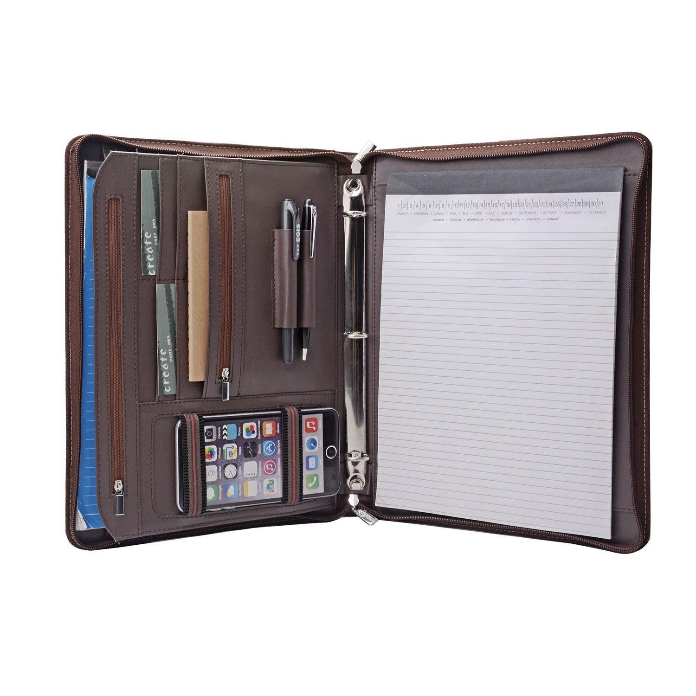 Binder Folder Organizer Portfolio with 3 Ring Binder, to Fit A4 Notepad,Coffee