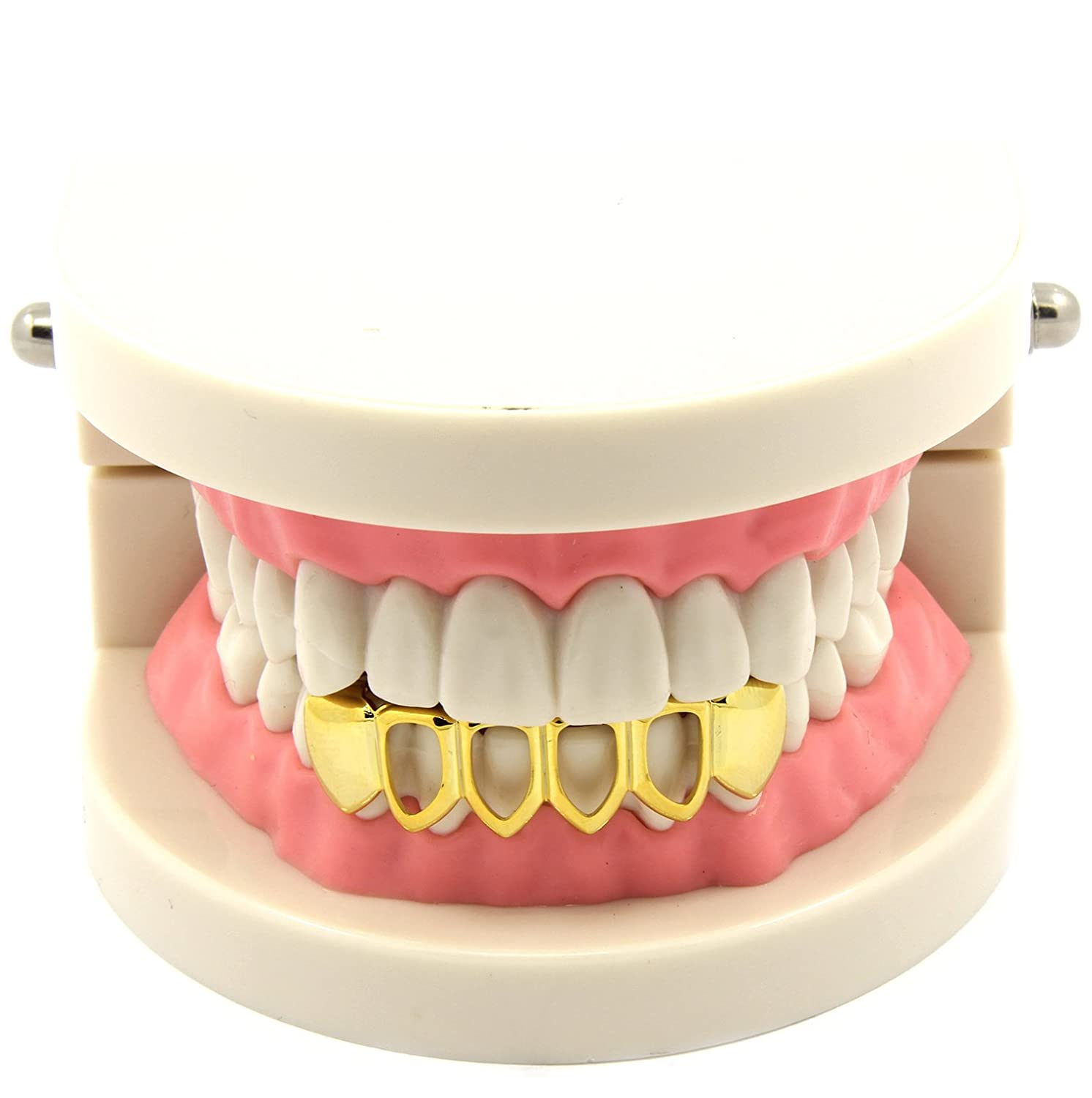 Custom Fit 14k Gold Plated Hip Hop Teeth Open Hollow Grillz Caps Bottom Grill Jewel Town GG12