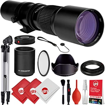 NEX-6 a3000 NEX-5T a5100 Super 500mm Manual Preset Telephoto Zoom Lens for Sony a7r NEX-5N a5000 3N and Other E-Mount Digital Mirrorless Cameras a7s NEX-5R a7 a6000 NEX-7
