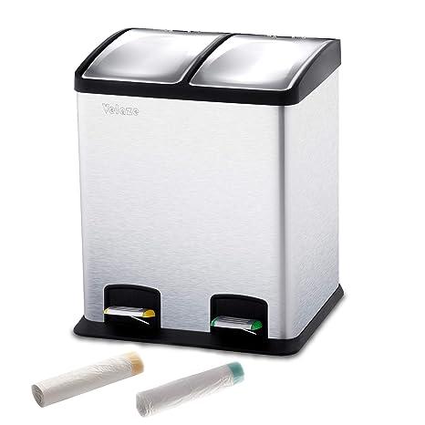 Velaze Cubo de Basura 24L de Acero Inoxidable, Basurero Reciclaje Cubos de Cocina Extraible con 2 Cubetas Interiores (12L x 2) con Pedal para Cocina, ...