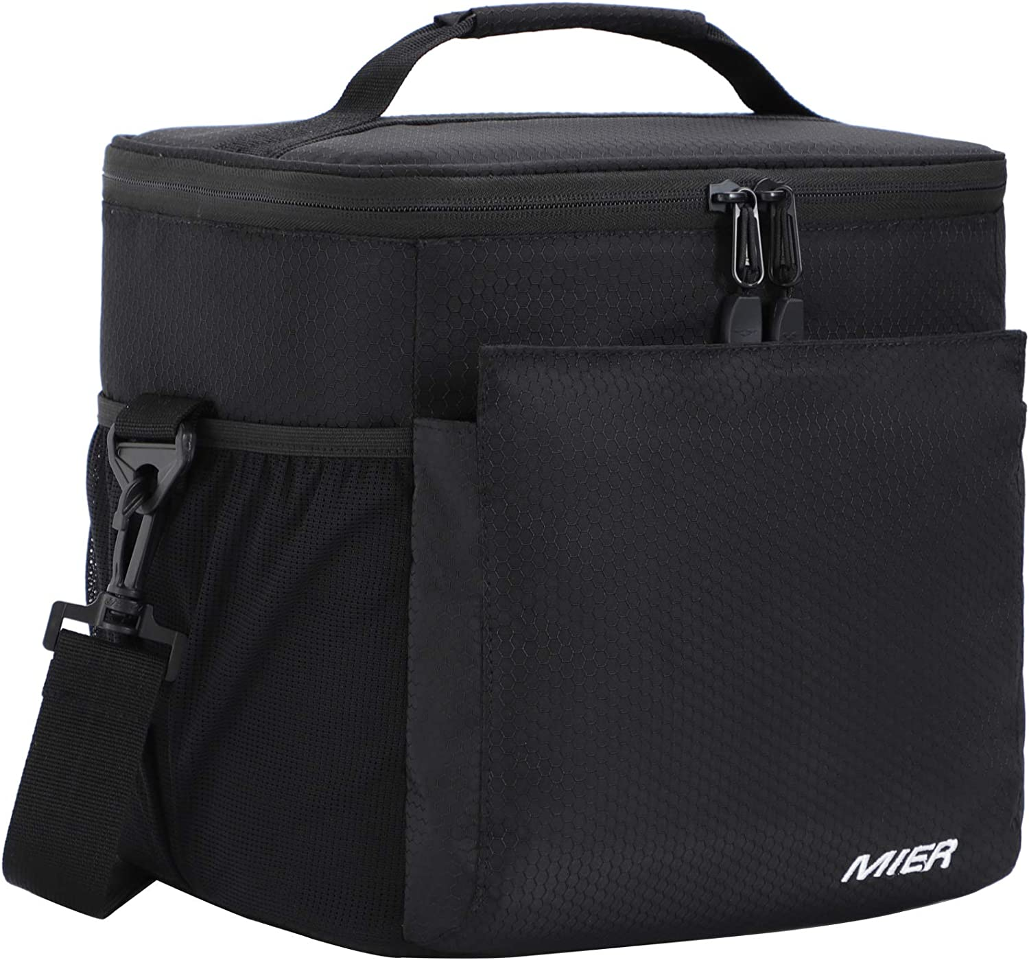 MIER Insulated Lunch Bag Men and Women Soft Cooler Lunch Box Tote with Shoulder Strap, Leakproof Liner, 24 Can, Pure Black