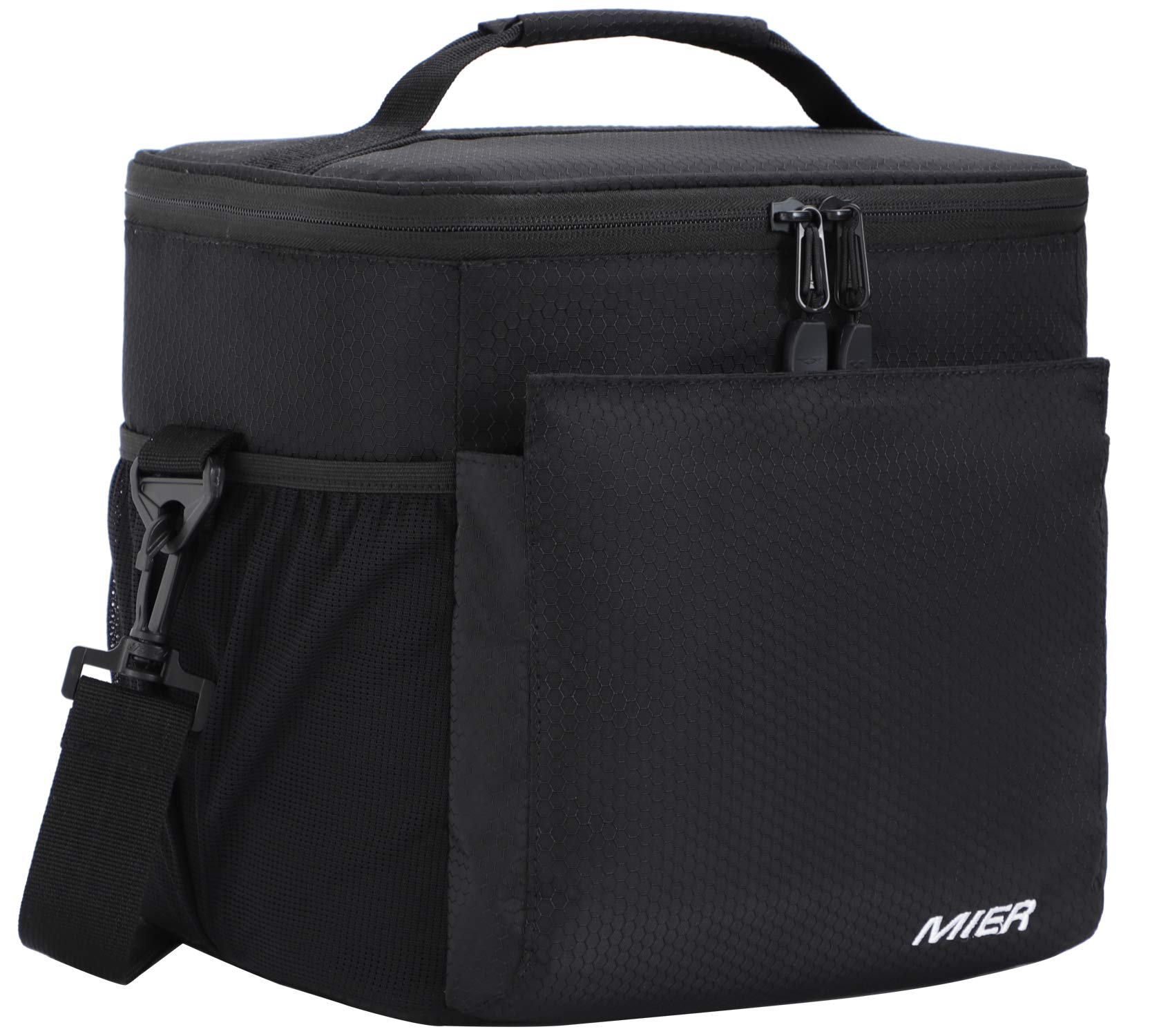 MIER Insulated Lunch Bag Men and Women Soft Cooler Lunch Box Tote with Shoulder Strap, Leakproof Liner, 24 Can, Pure Black by MIER