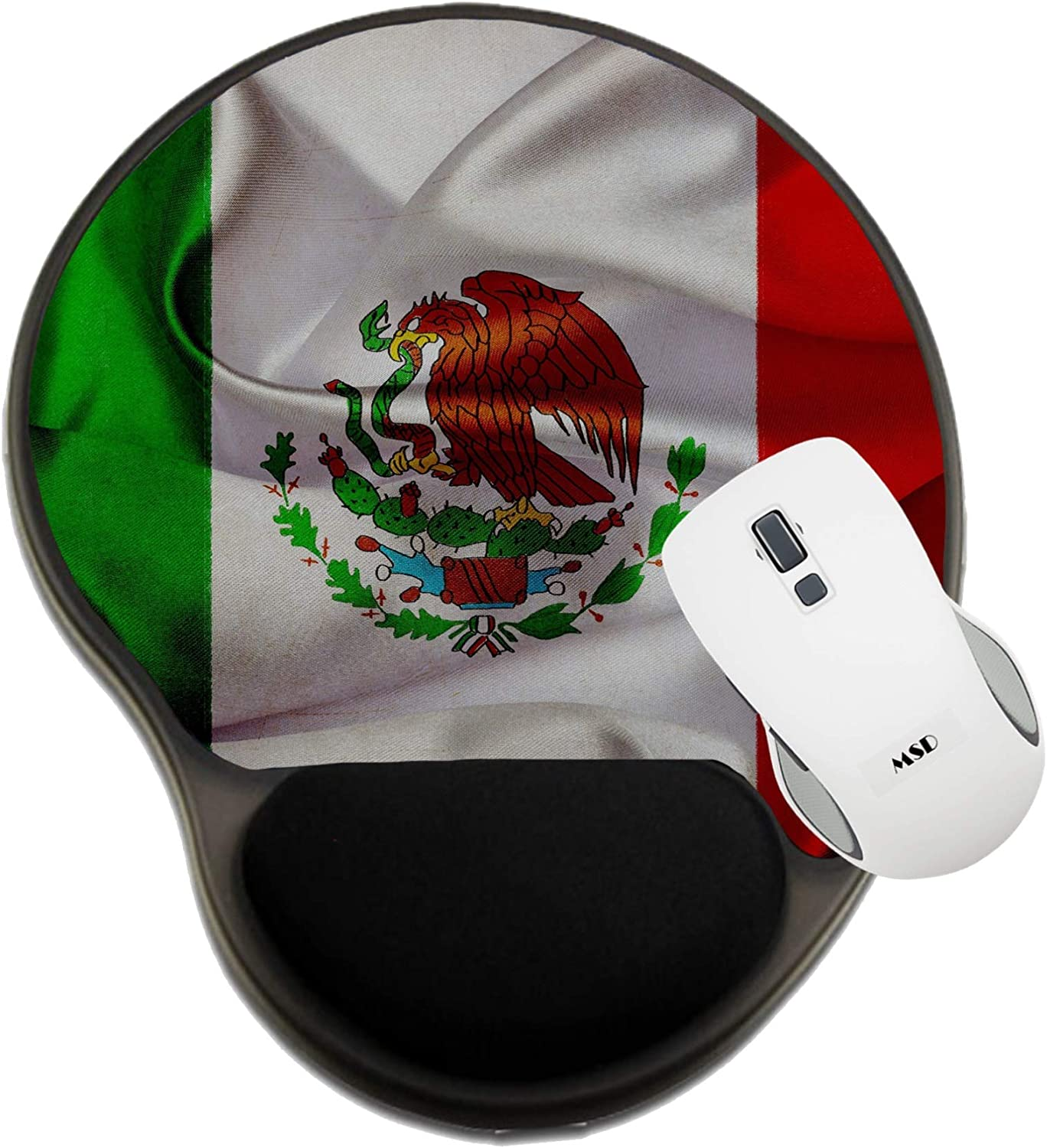 MSD Mousepad Wrist Rest Protected Mouse Pads Image ID 19036569 Mexico Grunge Waving Flag Mat with Wrist Support