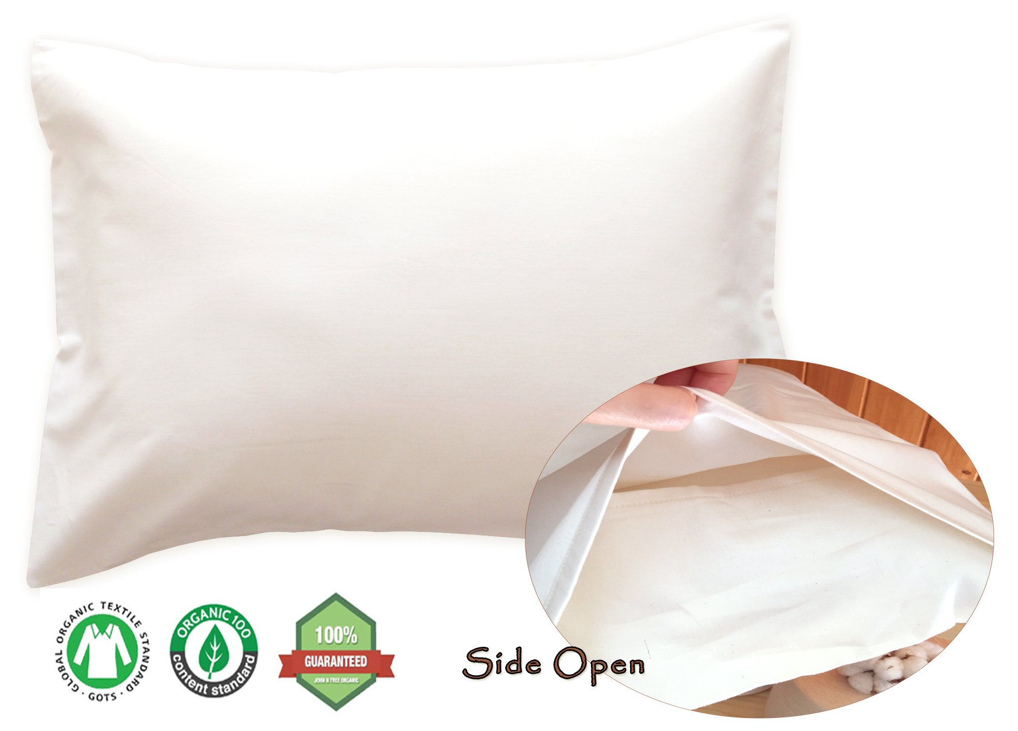 JOHN N TREE Organic Organic Cotton Toddler Pillowcase for 13 18 ((Natural Basic -Side Open) Toddler PillowCase)