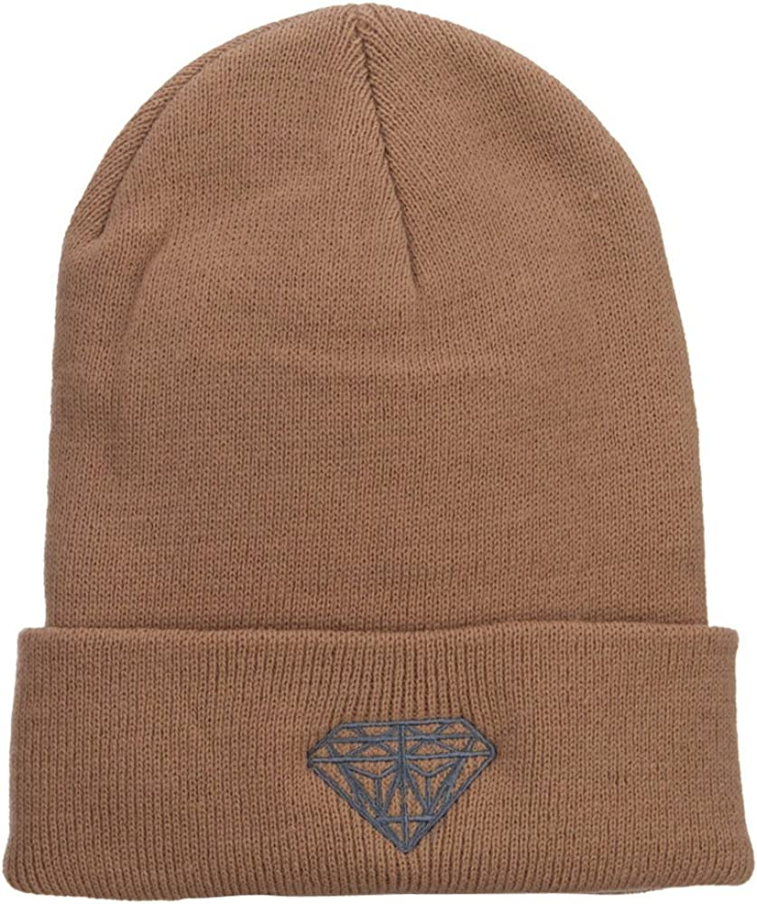 Big Size Grey Diamond Embroidered Long Beanie (for Big Head)