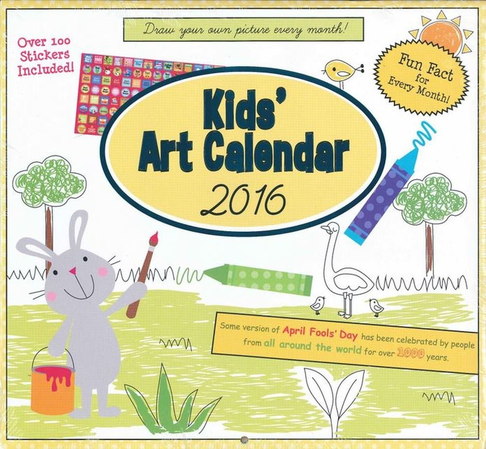 Amazon Paper Craft 2016 Kids Art Calendar 16 Month Coloring Book With Over 100 Stickers Included Office Products