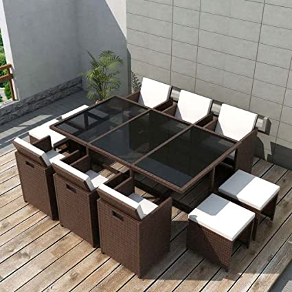 Festnight 11 Piece Outdoor Wicker Patio Dining Glass Table And 6 Chairs Set  With Cushioned Seat