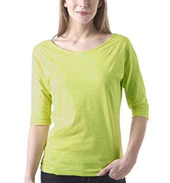 femme Vêtements 1 T Jaune col rond shirt et Promod vert E6q48