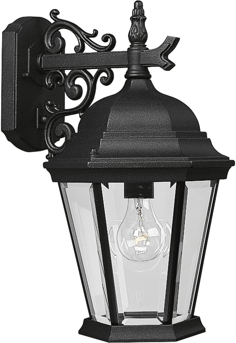 Progress Lighting P5683-31 Traditional One Light Wall Lantern from Welbourne Collection Finish, 9-1/2-Inch Width x 18-Inch Height, Textured Black