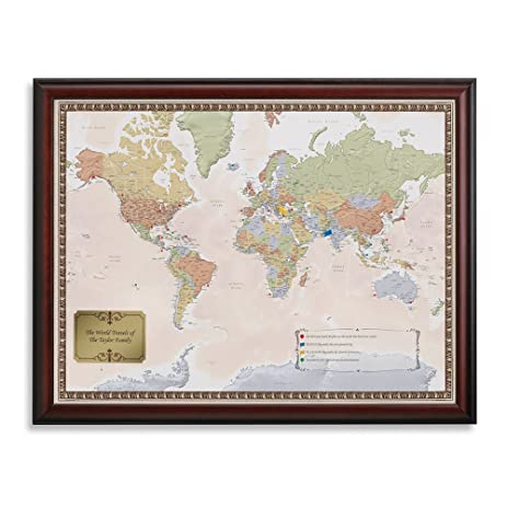 Amazon personalized world traveler framed map set with pins personalized world traveler framed map set with pins custom engraved crest up to 50 characters gumiabroncs Image collections