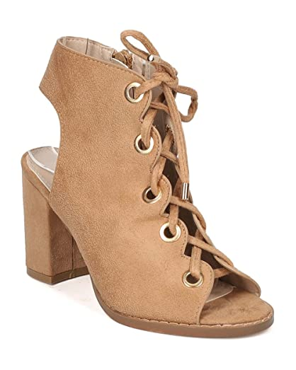 Women Faux Suede Chunky Heel Bootie - Dressy Casual Trendy - Lace Up Ankle Boot - GF54 by