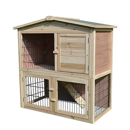 PawHut Conejera de Exterior 2 Niveles Gallinero Pajarera Granja Casa para Animales Pequeños Jaula Mascota Conejos