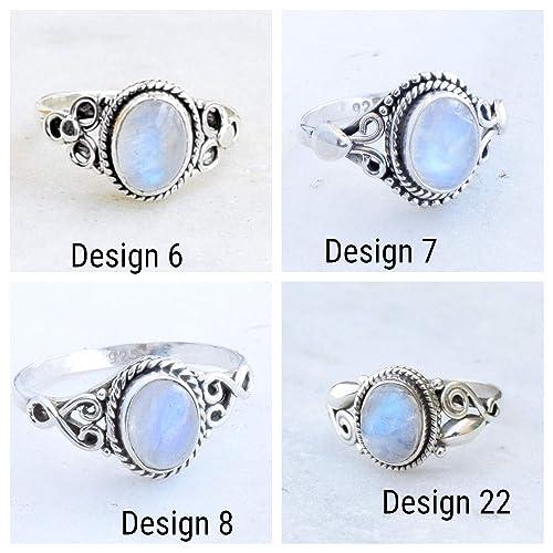 Rainbow Moonstone Gemstone Sterling Solid Silver Ring Handmade Size 10