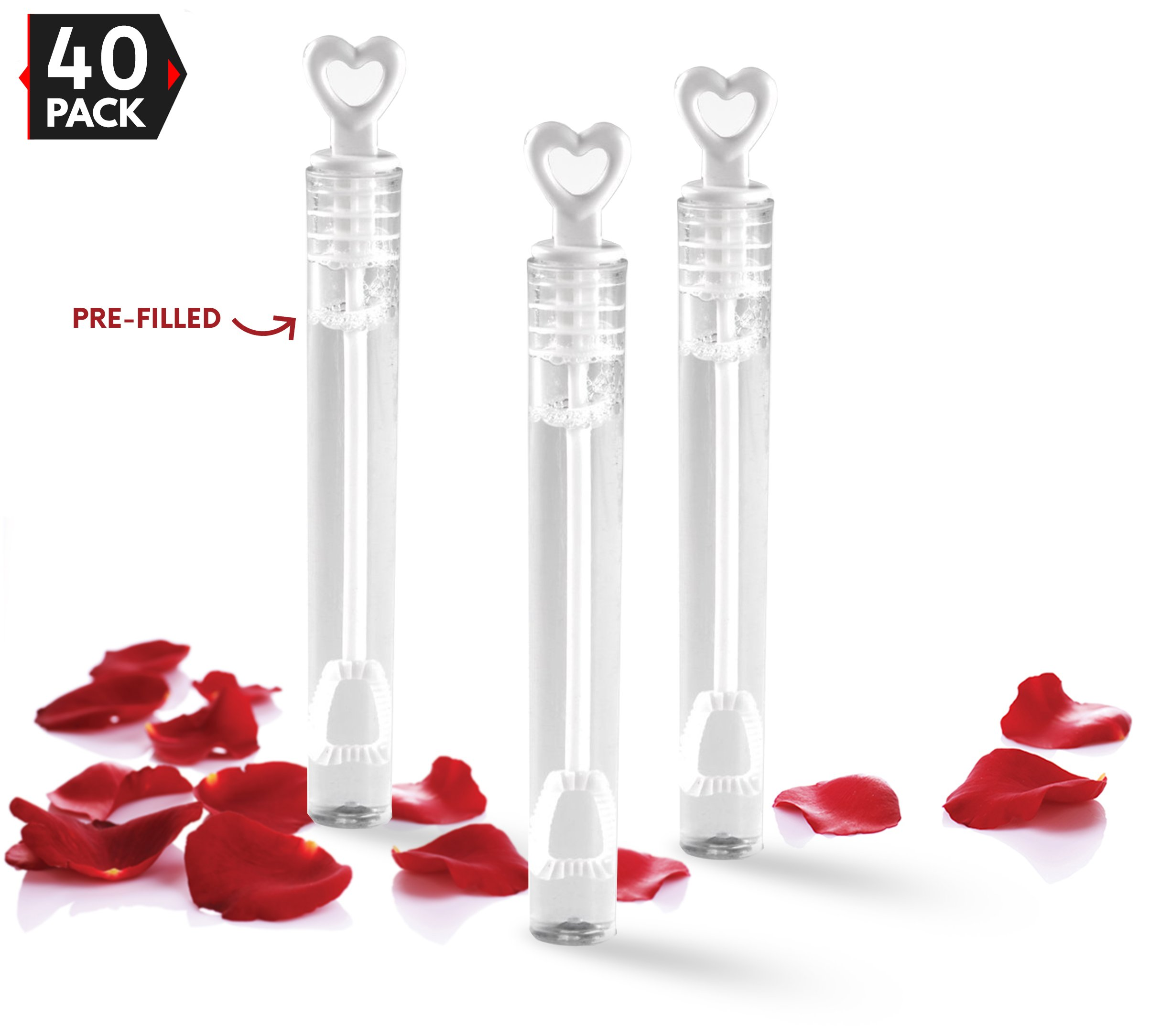 40 Pack Mini Heart Bubble Wands – Great Wand Bubbles Party Favors For Weddings and Anniversaries by Big Mo's Toys by Big Mo's Toys
