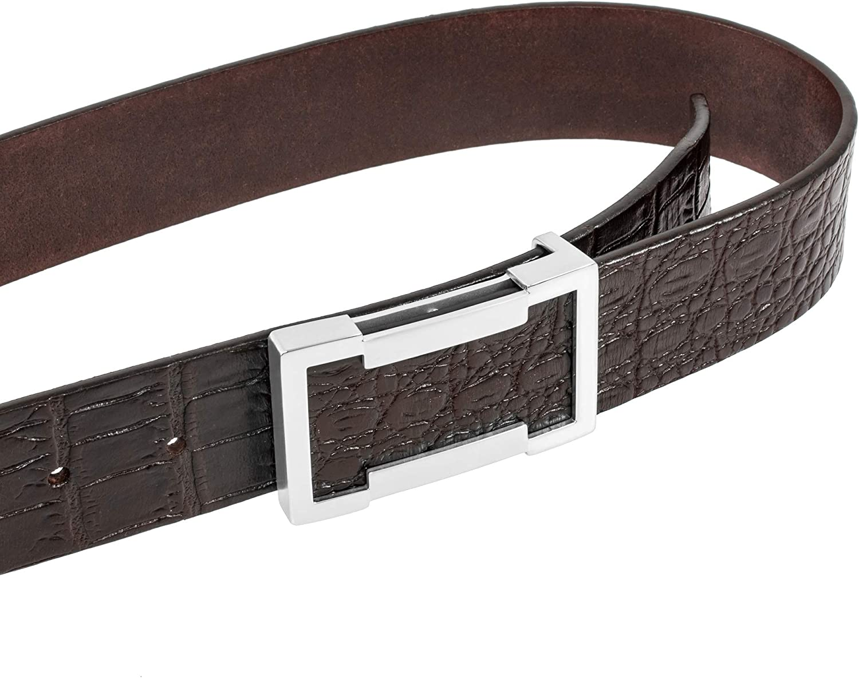 35, Silver Martino 100/% Italy Genuine Leather Belt Mens Belt Designer Belts for Men 1.5 Wide Unique Metal Buckle with Gift Box