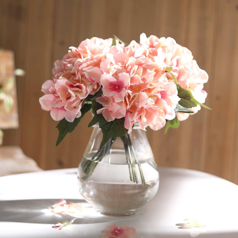 Veryhome Hydrangea Artificial Silk Fake Flower Bunch Bouquet Arrangements for Home Wedding Garden Floral Decor Pack of One (Pink)