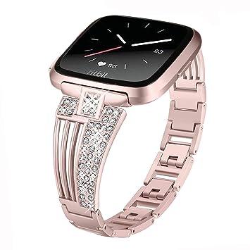 DBoer Compatible Fitbit Versa Reloj Correas de Rosa para Mujeres / Niñas Bling Diamantes de Imitación