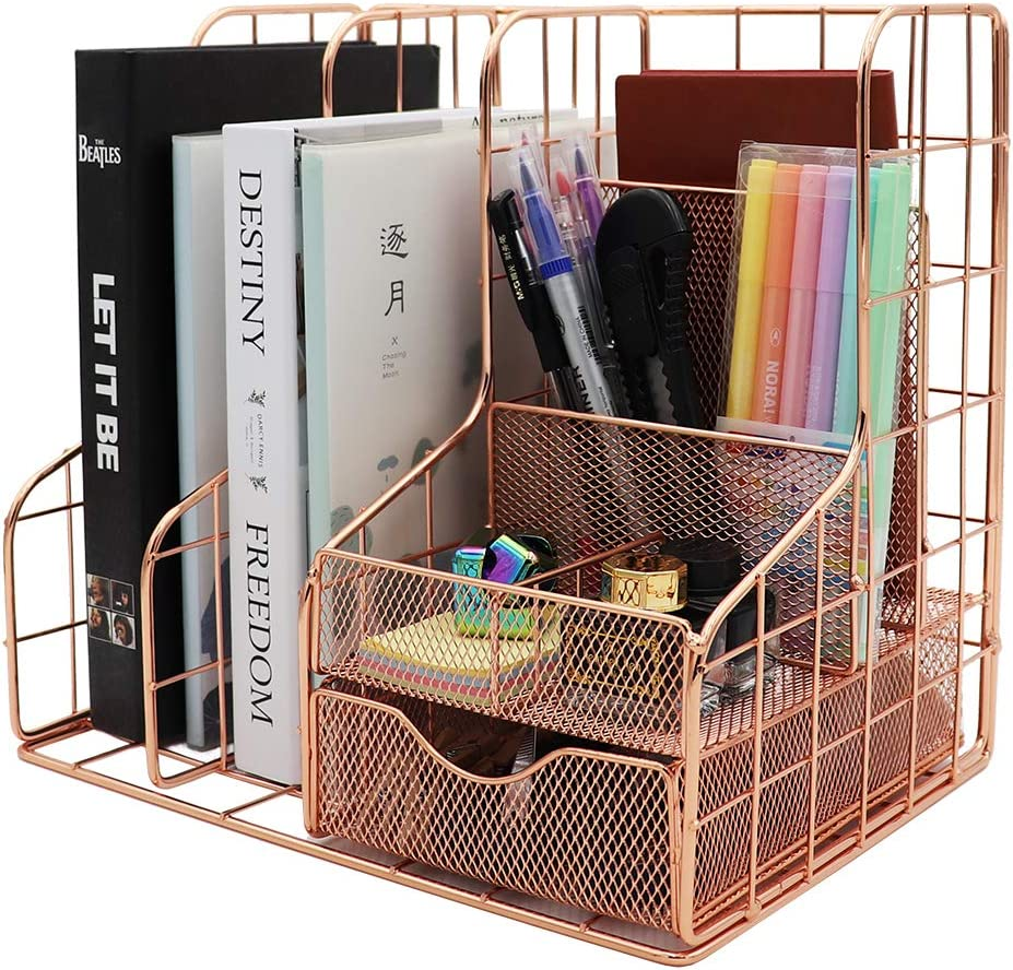 Rose Gold Desk Organizer Supplies Accessories Storage Caddy Desktop Organizer with Pencil Holder ,Pen Holder ,Paper Organizer ,Mail Holder,File,Desk Decorative Home, Office and School Gift