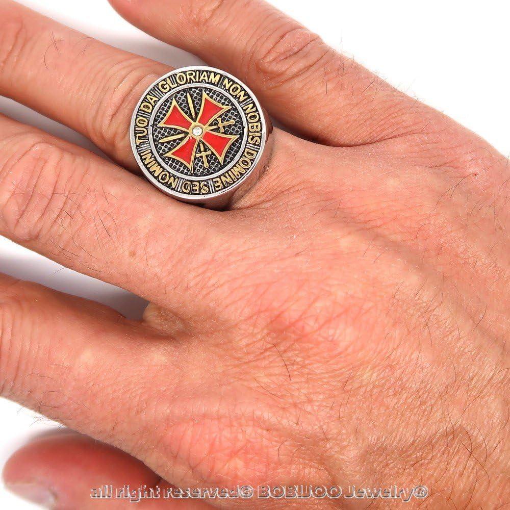 Bague Chevalier Ordre Templiers Homme Argent/é Croix Malte Rouge Acier Inoxydable BOBIJOO Jewelry