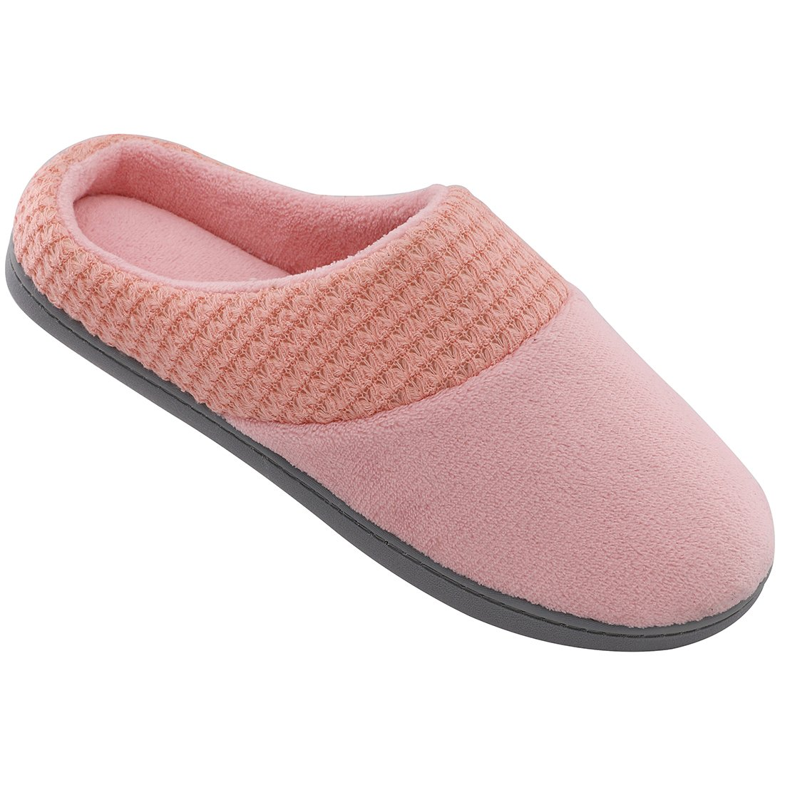 ULTRAIDEAS Women's Terry Plush Memory Foam Slippers Anti-Slip Indoor/Outdoor House Shoes w/Fabric Knit Collar