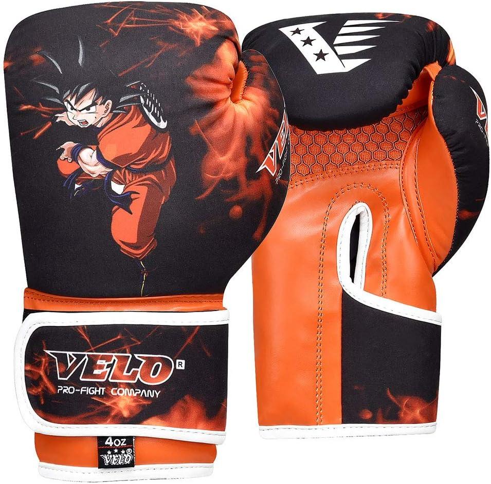 Kids Boxing Gloves with Focus Pads 4oz VELO 6oz Junior Punch Mitts Bag MMA Training Muay Thai Mitt Orange