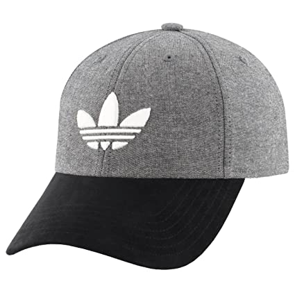 wholesale dealer 9bc8f b33f4 adidas Men s Originals Trefoil Plus Precurve Structured Cap, Black Chambray Black  Suede, One