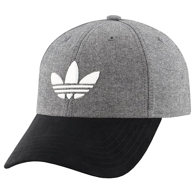 competitive price 31a3a fa077 adidas Men s Originals Trefoil Plus Precurve Structured Cap, Black Chambray  Black Suede, One