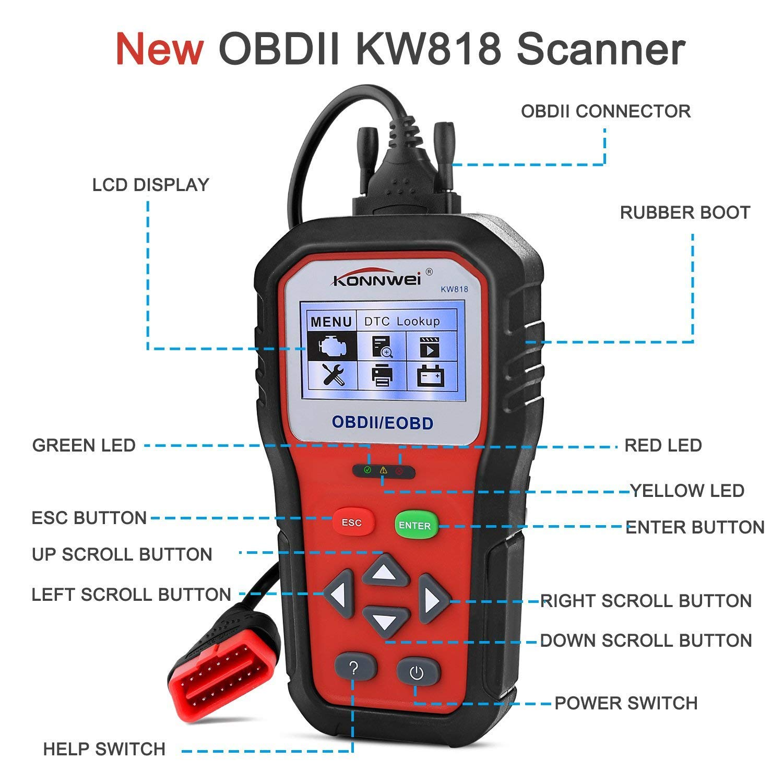 KONNWEI OBD2 Scanner Professional Car OBD II Scanner Auto Diagnostic Fault Code Reader Automotive Check Engine Light Diagnostic O2 Sensor EOBD Scan Tool for All OBDII Protocol Cars Since 1996 (KW818) by KONNWEI (Image #2)