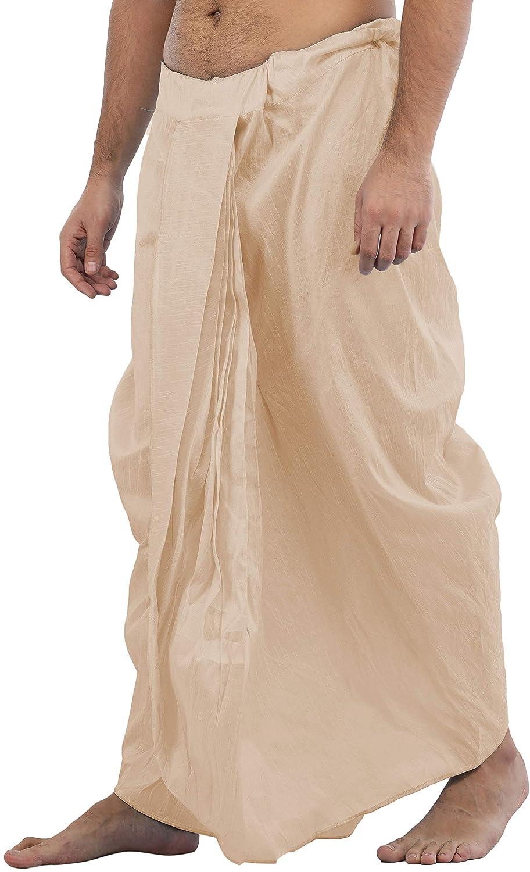 Maenner-Dhoti-Dupion-Silk-Plain-handgefertigt-fuer-Pooja-Casual-Hochzeit-Wear Indexbild 4