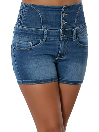 Daleus Damen High-Waist Jeans Shorts Hot-Pants Hochschnitt No 15876 Blau S    36  Amazon.de  Bekleidung 0a5e89e921