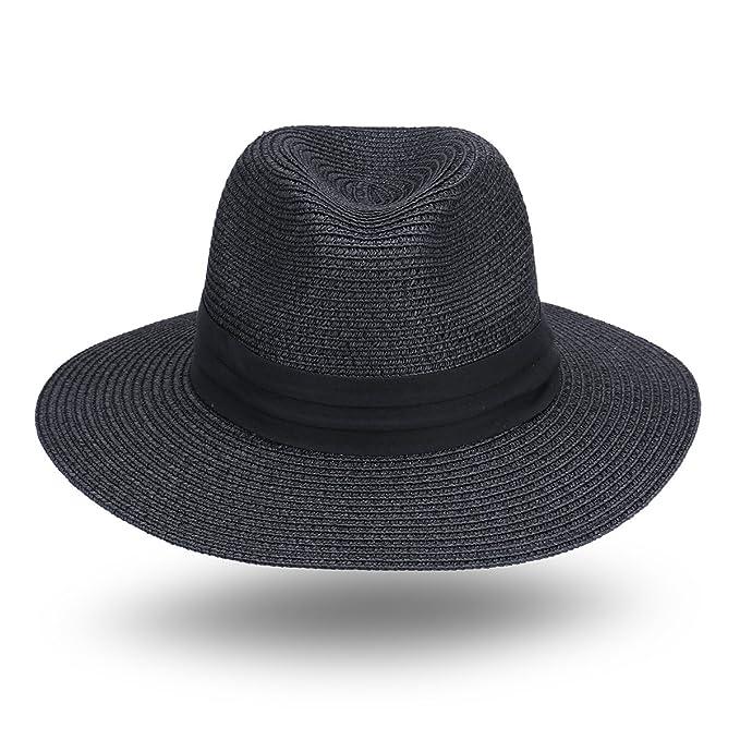 ebb59fbec6bf95 JOOWEN Women and Men's Panama Fedora Straw Hat Beach Sun Cap (Black) at  Amazon Women's Clothing store: