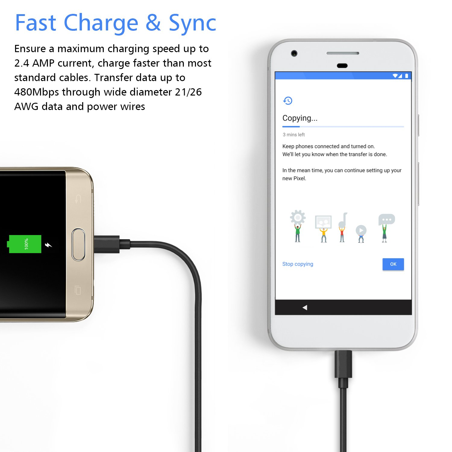 Amazon.com: Android Micro USB Charging Cable, [15 Ft] Extra Long USB ...