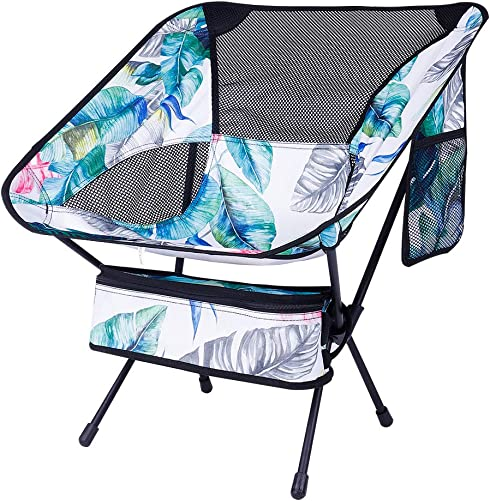 KABOER Outdoor Portable Camping Chair, Folding Camping Chair, Lightweight Backpacking Chair, Heavy Duty Compact Camp Chair for Hiking Picnic Beach Finishing and Travel with Carry Bag Hawaiian Style