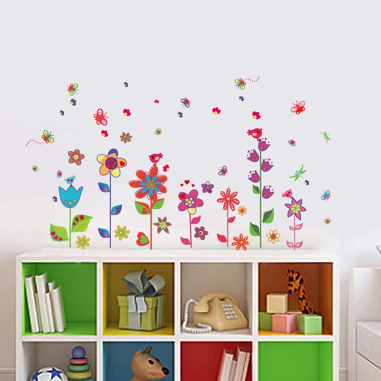 Walplus Wandtattoo, Bunte Blumen und Schmetterlinge: Amazon.de ...