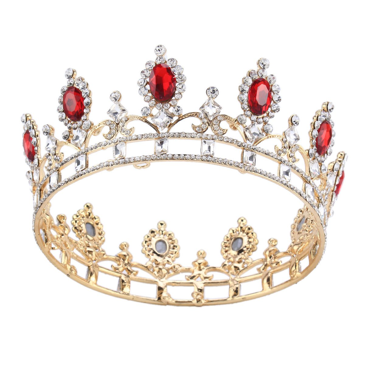 Stuffwholesale Oval Stone Wedding Pageant Crown Rhinestone Women Hair Accessories (Gold)