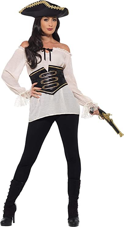 Smiffys Shirt, Ladies Deluxe-Camiseta pirata para mujer, color marfil, S-UK Size 08-10 (47356S): Amazon.es: Juguetes y juegos
