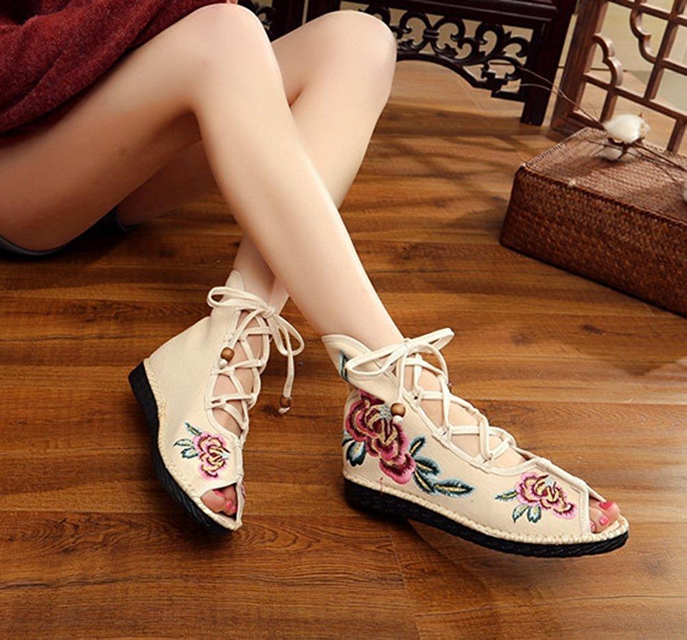 Kool Classic Women's Embroidery Open Toe Lace-up Gladiator Roman Flats Sandal B06XVRFBLN 39 M EU=8 B(M) US Flower Beige