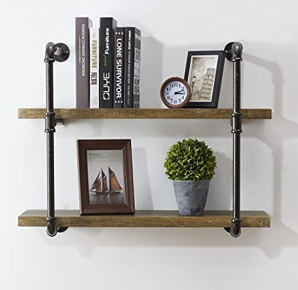 Ou0026K Furniture 31 Inch Industrial Pipe Bookshelves Home Organizer Storage,  2 Tiers Rustic