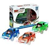 Spielzeug Auto,MIGE Spielzeug Auto Spur Led Licht Auto Im Dunkeln Leuchten Zubehör Kompatibel mit den Meisten Auto Rennen Twister Tracks,Magic Car Ideal Für Childs Geschenke(Packung von 3)