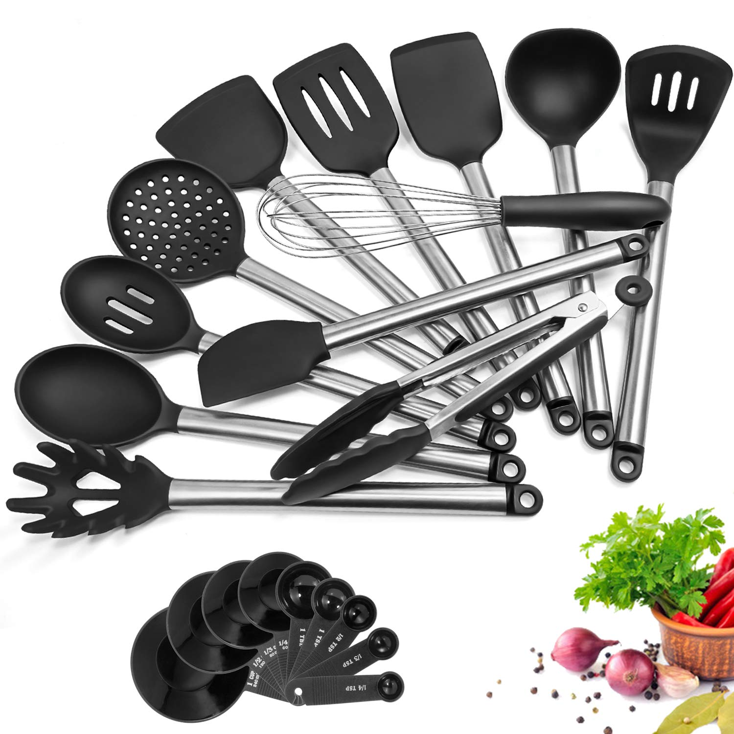Details about Kitchen Utensil Set, 21 Piece AILUKI Cook Utensil Set  Silicone Cooking Utensil