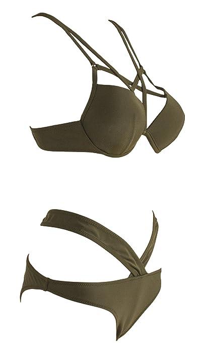 8348110c0f Amazon.com  Vogueric Womens Sexy Strappy Bikini Swimsuit Push Up Padded Top Bathing  Suit  Clothing