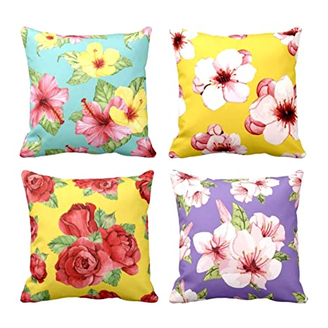 Admirable Buy Theyayacafe 12X12 Inches Set Of 4 Cushion Covers Ncnpc Chair Design For Home Ncnpcorg