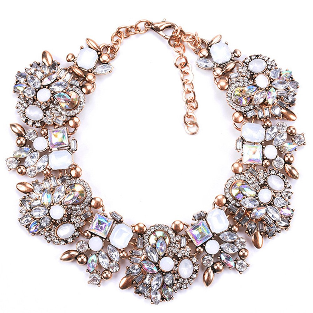 Zthread Bib Statement Necklace Colorful Glass Crystal Collar Choker Necklace for Women Fashion Accessories (White)