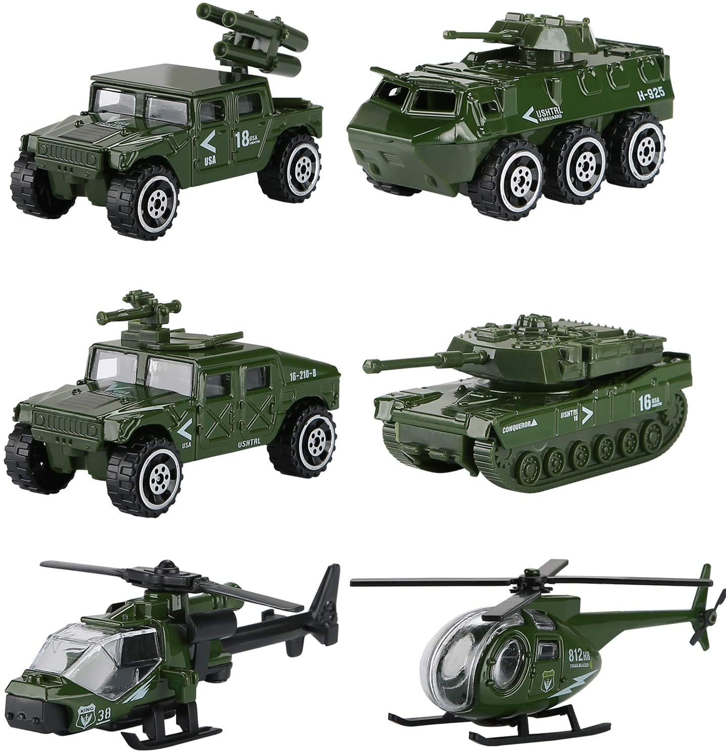 Hautton 6 Transporte de Juguete Fundidos, Mini Modelo Aleación Vehicular Camioneta Camión Tanque Helicóptero Militar para Niños Chicos -Ejército